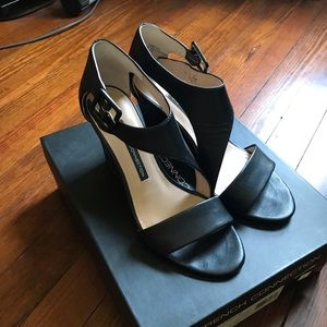 French Connection Black Leather Sandals
